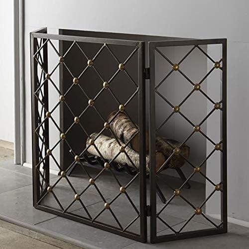 暖炉ガード 暖炉のための現代アイアンスパークガード - 3パネルの暖炉スクリーン折りたたみ - 金色の装飾を持つ幾何学的なデザイン、黒