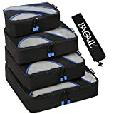 BAGAIL 4 Set Packing Cubes,Travel Luggage Packing Organizers with Laundry Bag Black