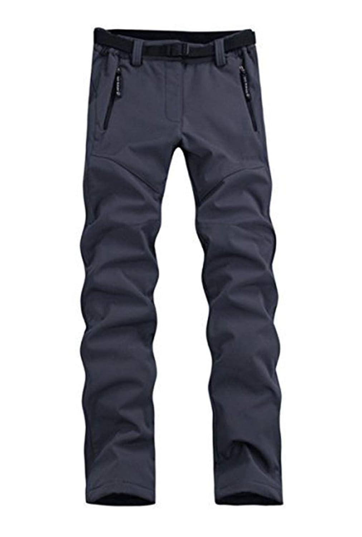 Grey LANBAOSI Women's Outdoor Waterproof Softshell Pants Fleece Hiking Ski Pants