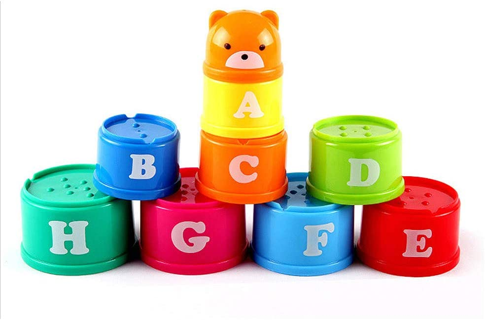 WDDH Rainbow Stacking /& Nesting Cups,Toddler Bath Stacking Cups Baby Building Set,Baby Educational Activity Toys Assorted Number,Letter and Color for Indoor//Outdoor//Bathtub//Beach