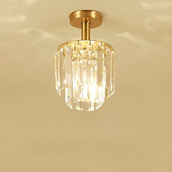 YWYU Small Chandelier Crystal Chandelier Lighting 2 Lights Flush Mount All Bronze Ceiling Light H10.23 X W6.63 Lighting Fixture for Bedroom Hallway Bar Kitchen Bathroom DENG1215