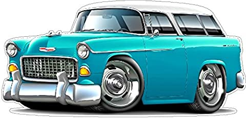 1955 Chevy Nomad WALL DECAL 2ft long Chevrolet Car Sport Classic Vintage Graphic Sticker Photo Man Cave Garage Boys Bedroom - Pictures 1955 Chevy