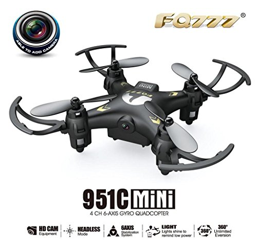 Welcomeuni FQ777 951C 2.4G 4CH 6-Axis Gyro 0.3MP Camera RTF RC Quadcopter Drone Toy Remote Control Vehicle Black