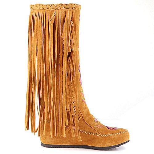 Half Fringes Boots TAOFFEN Boots Flat Bohemian Yellow Asian Women's Casual 34 Size waIqSHp