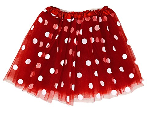Rush Dance Teen Adult Classic Ballerina 3 Layers Polka Dots Tulle Tutu Skirt (Teen/Adult, Red with White Dots (Minnie))