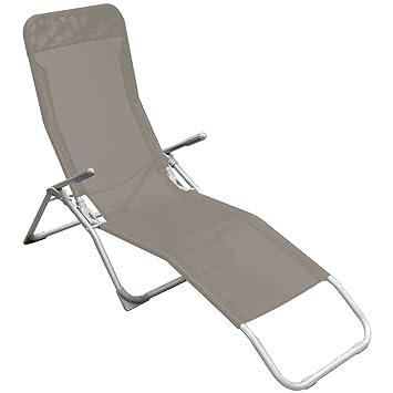 promobo bain de soleil chaise longue transat terrasse jardin sieste repos ibiza gris taupe anthracite - Chaise Longue Transat