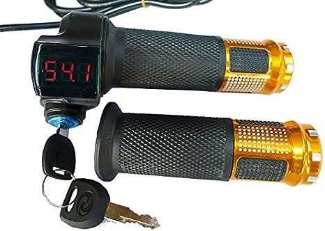 24V/36V/48V bicicleta eléctrica acelerador agarre Scooter eléctrico batería voltaje LED indicador alimentación armario clave alta calidad acelerador: Amazon.es: Deportes y aire libre