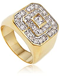 Men's Goldtone Cz Layered Squares Ring Sizes 7-17...