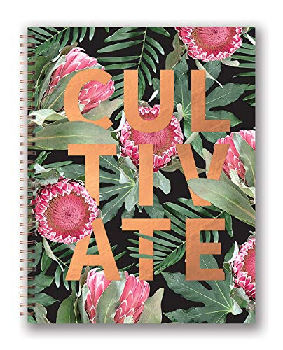 Studio Oh! Extra Large Hardcover Spiral Notebook Available in 6 Designs, Floral Expressions CULTIVATE
