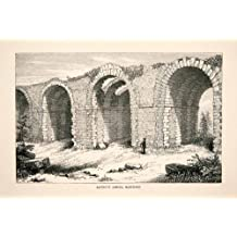 1867 Wood Engraving Arches Water Aqueduct Maintenon France Historic Architecture - Original Wood Engraving