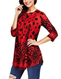 Ray-JrMALL Womens Oversized Blouse 3/4 Long Sleeve Shirt Tunic Casual Tops