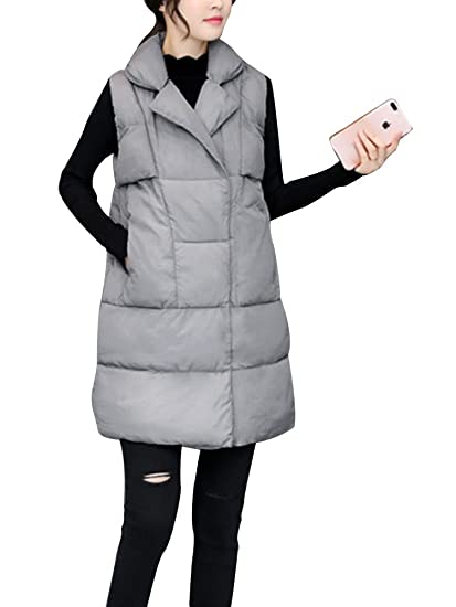 f73a1400b Women's Cotton Padded Lapel Collar Thickened Outwear Coat Long Down Puffer  Vest Jacket