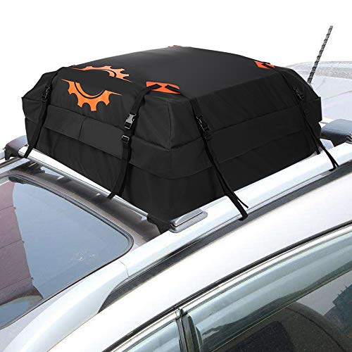 Rooftop Cargo Carrier Bag Waterproof Luggage Carrier for Cars Vans and SUVs Roof Top Storage Soft Cargo Bag Luggage Travel Bag with Protective Mat and Straps 15 Cubic Feet