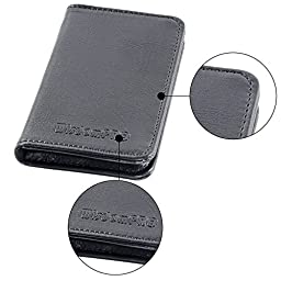 Business Card Holder, Wisdompro 2-Sided PU Leather Folio Professional Name Card Holder Wallet Case / Organizer with Magnetic Shut for Men and Women, Ultra Slim and Thin - Black