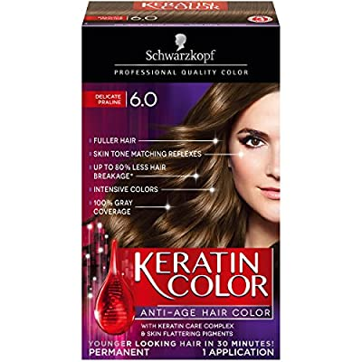 Schwarzkopf Keratin Color Anti-Age Hair Color Kit, 6.0 Delicate Praline (Pack of 2)