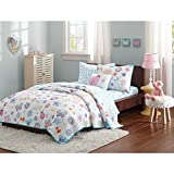 6 Piece Kids Twin Butterfly Themed Coverlet Set, Microfiber Sheet, Flowers Butterflies and Ladybugs Bedding, Cute Pink Yellow Blue Animal & Floral Bed in a Bag