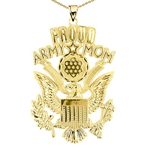 U.S. Proud Army Mom 14k Yellow Gold with The Great Seal Pendant Necklace, 18