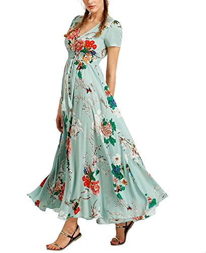 loral Print Party Maxi Dress for Women Casual and Formal (Medium, Mint Green) ()