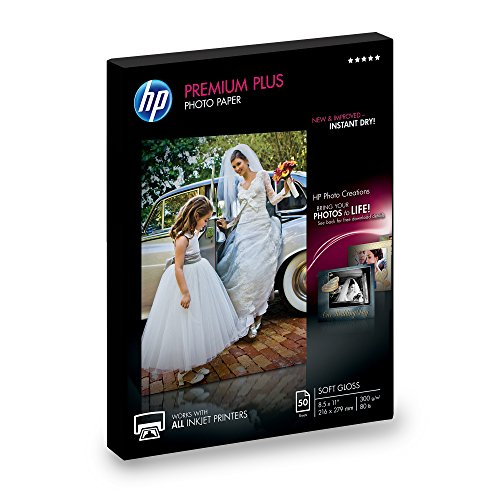 (HP Photo Paper Premium Plus, Soft Gloss, (8.5x11 inch), 50)