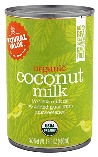 Price comparison product image Natural Value Organic Coconut Milk,  13.5 Ounce Cans (Pack of 12)