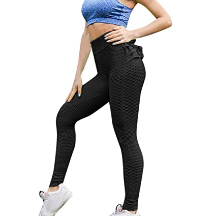 770c8182dc8f93 Image Unavailable. Image not available for. Color: NEARTIME Ladies Yogan  Pants, Women Casual Pleated Pants Slim Skinny Sport Legging Pants Ruffle  Elastic