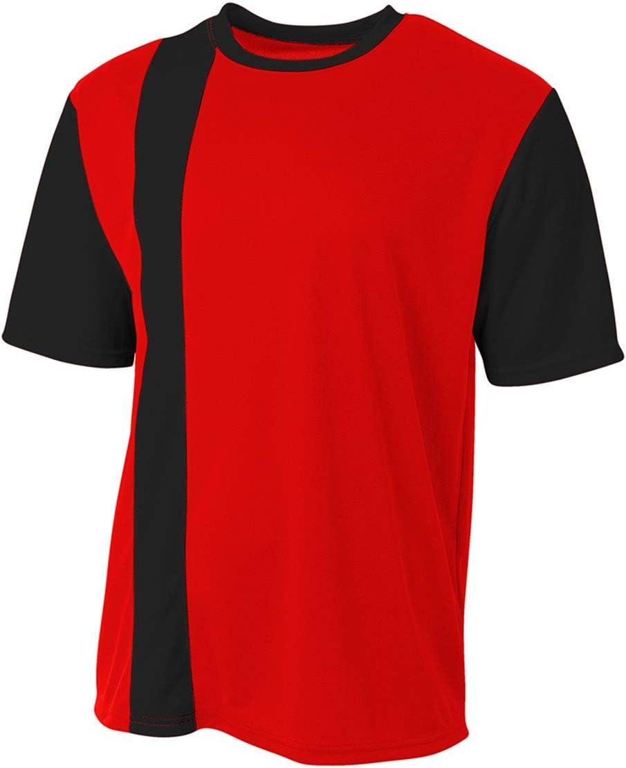 A4 Sportswear Red//Black Stripe Adult Small Soccer Jersey