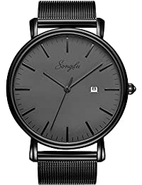 SONGDU Men's Fashion Date Slim Analog Quartz Watches Grey Dial with Stainless Steel Black Mesh Band