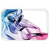 vac u flow - VROSELV Custom Door MatAbstract Home Decor Abstract Artwork with Colorful Smoke Dynamic Flow Swirl Contemporary Home Art Decor Fuchsia Blue