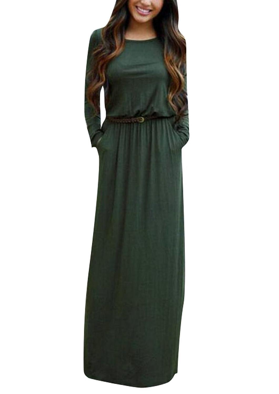 Oberora-Women Casual Plain Long Sleeve Pocket Belt Slim Party Maxi Dress