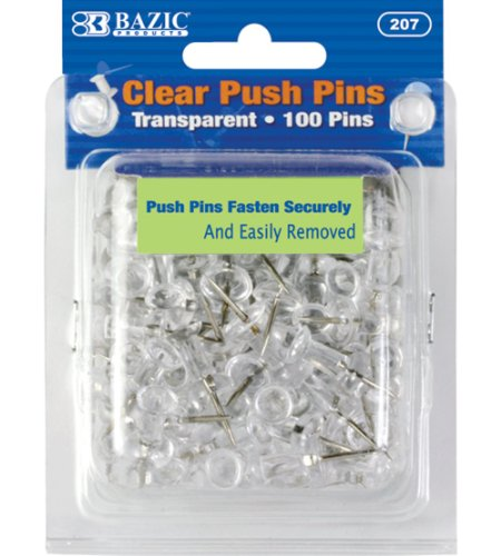 BAZIC Transparent Push Pins, Clear, 100 Per Pack (Crystal Bazic)