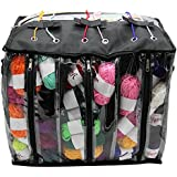 Maggift Knitting Bag, Yarn Storage Bag, Crochet Organizer, Clear Plastic Tote Bag, Multiple Pockets, Individual Compartments And Carrying Shoulder Strap  (Black)