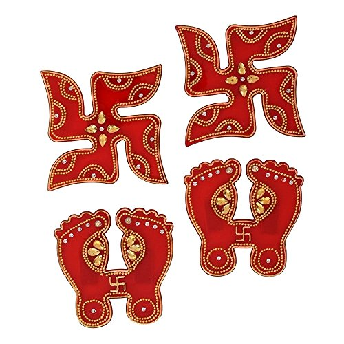 Store Indya, Set of 2 Handcrafted Diwali Subh Labh Door Wall Stickers Swastik with Laksmi Charan Stone Studded Home Festive Décor (Auspicious Hindu Symbols)  (Red & Gold 2) (Festive Halloween Wallpapers)