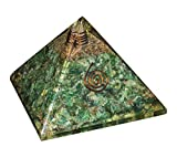 Crocon Green Aventurine Orgone Crystal Gemstone Pyramid Energy Generator For Reiki Healing Aura Cleansing Chakra Balancing & EMF Protection Size: 3-3.5 Inch
