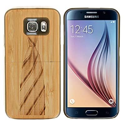 Boho Tronics Bohobamboocases Natural Handmade Hardwood Bamboo Necktie Case for Samsung Galaxy S6