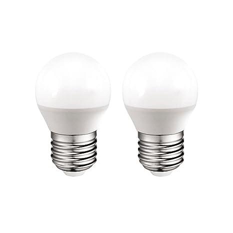 Pack 2x Bombillas esféricas LED E27 6W luz calida (3000K) 470 Lm.
