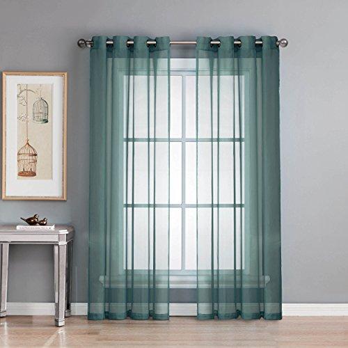 Window Elements Sheer Elegance Grommet 108 x 84  in. Curtain Panel Pair, Dusty Blue (Window Covering Ideas)