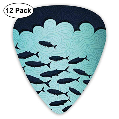 Celluloid Guitar Picks - 12 Pack,Abstract Art Colorful Designs,Surreal Ornate Swirl Waves And Group Of Fish With Nautical Under The Sea Theme,For Bass Electric & Acoustic Guitars.