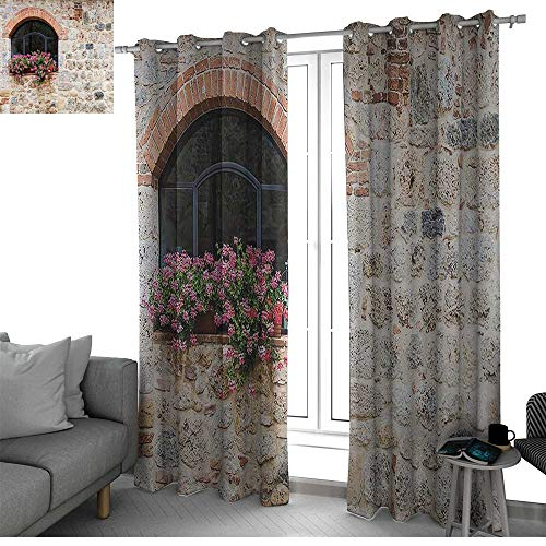bybyhome Tuscan Decor Collection Curtains for Sliding Glass Door Gothic Architecture Abandoned Old Stone House and Vintage Stairs Curtains for Bedroom Ivory Pink Green W108 x L108 Inch