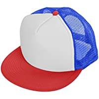 Flat Billed Trucker Cap With Mesh Back M L XL Adjustable Hat (in 14 Colors) eb646ce3a838