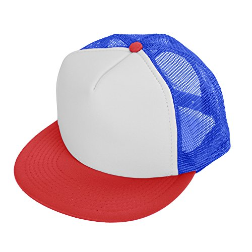 DALIX Flat Billed Trucker Cap With Mesh Back M L XL Adjustable Hat (in 14 Colors) Caps (Red-White-Royal) - White Womens Cap