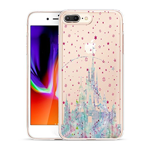 Unov Compatible Case Clear with Design Embossed Pattern TPU Soft Bumper Shock Absorption Slim Protective Cover for iPhone 7 Plus iPhone 8 Plus 5.5 Inch(Watercolor Castle)