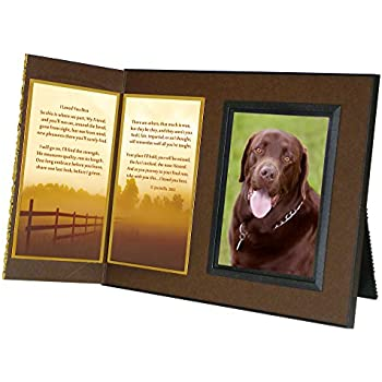 """Pet Lover Remembrance Gift, """"I Loved You Best"""" , Memorial Pet Loss Picture Frame and Sympathy Gift Package, with optional custom photo editing, Rich Dark Brown with Foil Accent"""