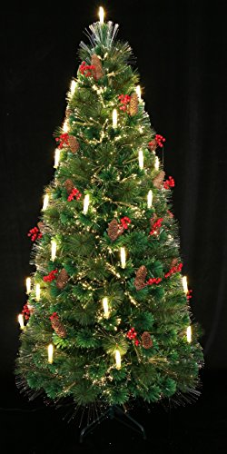 HOLIDAY STUFF 80th Century Noble Fir Pre-lit Fiber Optic Christmas Tree Decorated with Candle Light. (5ft) -