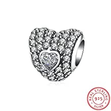 "HMILYDYK ""Love You Forever"" Heart Charm Bead CZ Crystal 925 Sterling Silver fit Pandora Charms Bracelet"