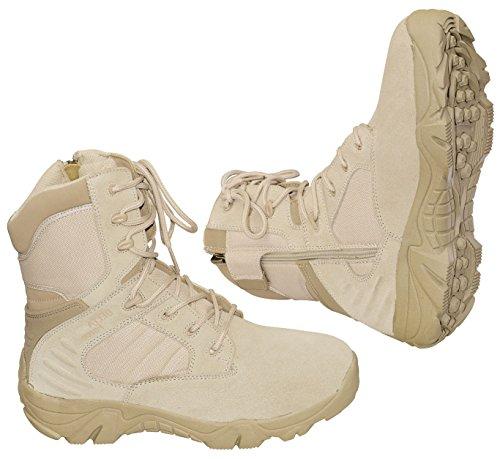 Army Kampfstiefel mit Reißverschluß Springerstiefel »Delta-Force« Wander-Stiefel Beige