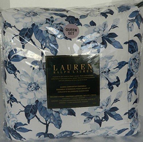 RALPH LAUREN Blue MAGNOLIA Floral Blossoms 4PC QUEEN COMFORTER SET