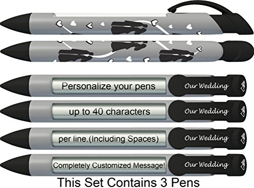 Wedding Pen by Greeting Pen- Personalized Bride and Groom Silhouettes Rotating Message 3 pack P-WP-05-3