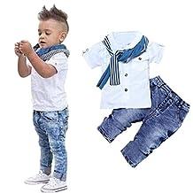 Blackobe 3pcs Toddler Baby Boys Button-Down Shirts + Denim Pants + Scarf Clothes Sets