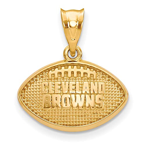 NFL Sterling Silver Gold-plated LogoArt Cleveland Browns Football Pendant