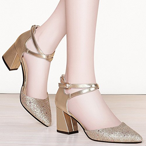 Women'S Jqdyl Spring High Heels Golden heels Work With Shoes New Shoes Summer High Single Shoes Tip Thick tTwBq4
